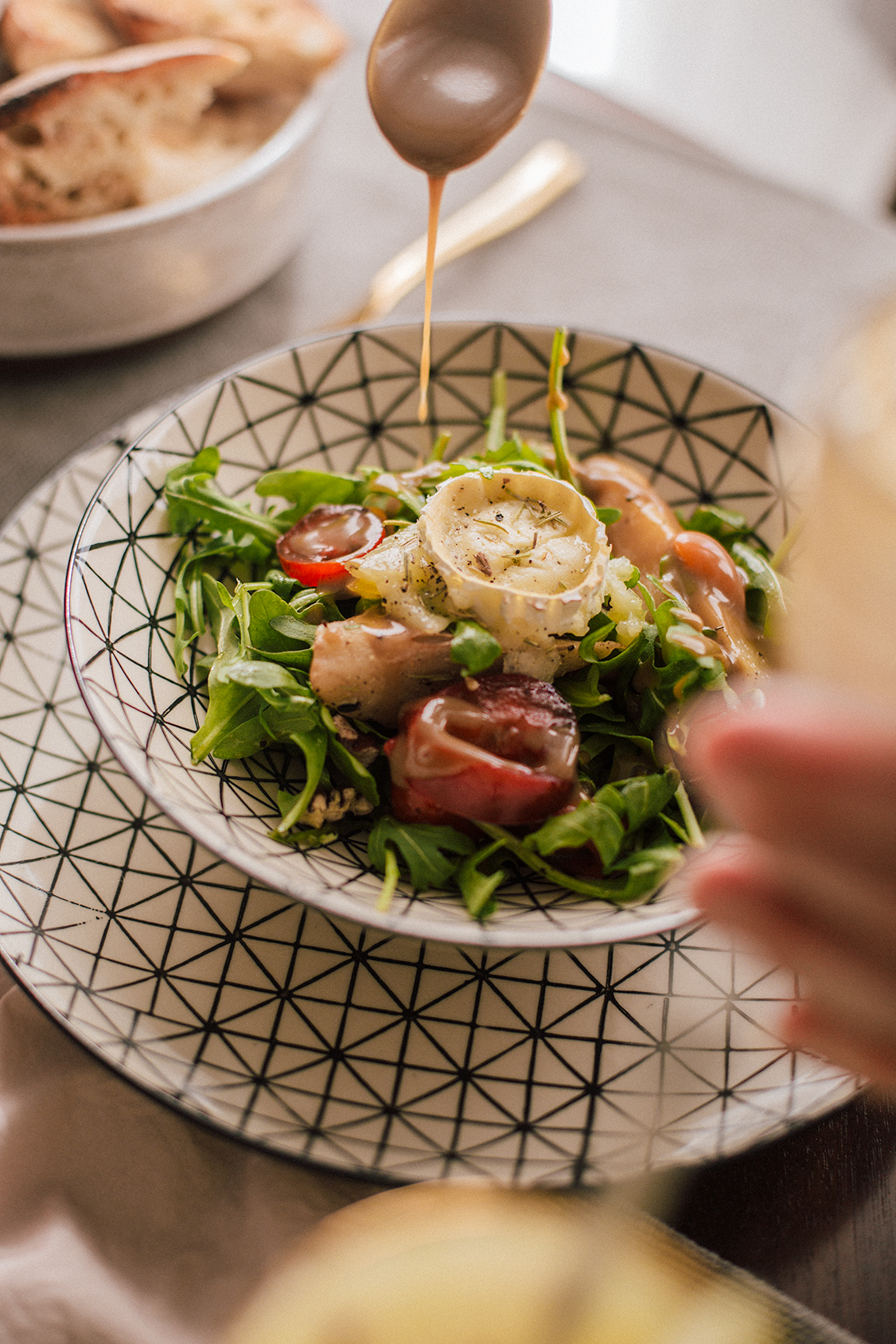 Goat Cheese Salad with Pears, Pecans and Maple-Balsamic Dressing