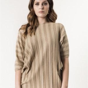 maglia curvy plisse lurex beige