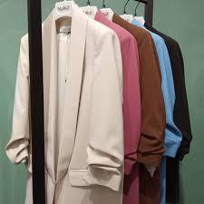 giacca blazer collo sciallato manica arricciata
