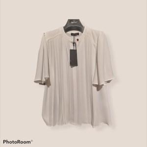 blusa maniche corte plissettata