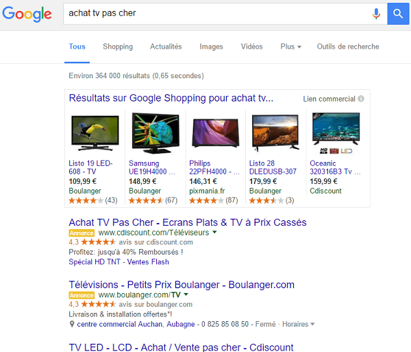 Google serp résultats adwords