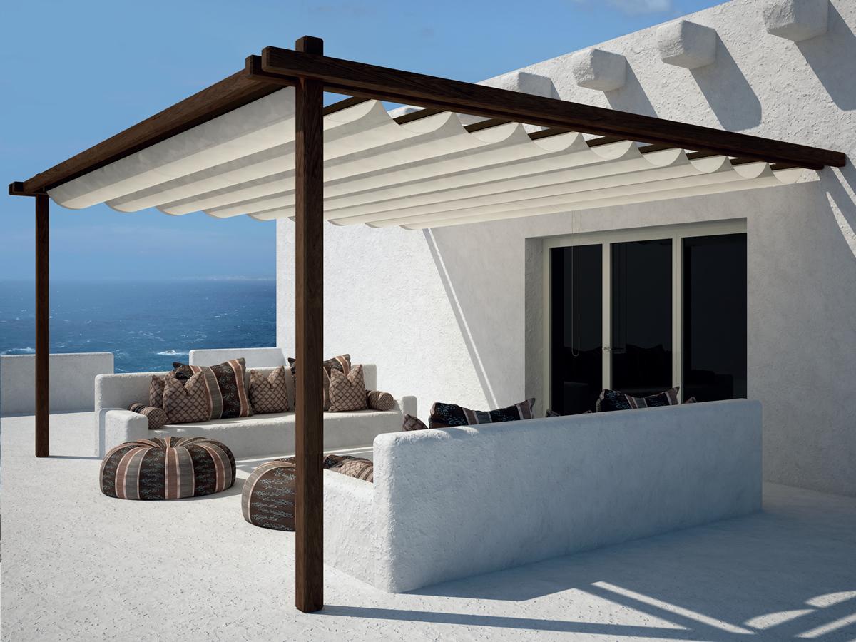 Tende da sole per pergole e strutture in legno ideali per la copertura di spazi di grandi dimensioni come giardini, patio e ville. Tende Da Sole Per Esterni E Pergole Per La Copertura Di Grandi Spazi
