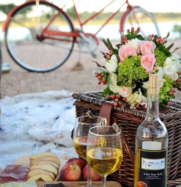 picnic chocolate y vino blanco