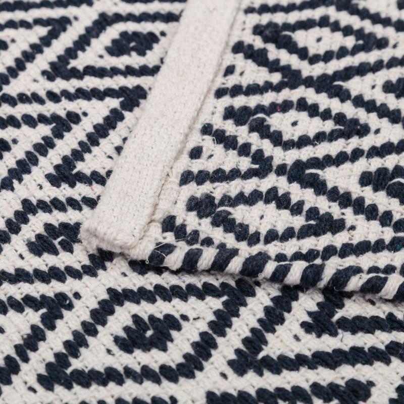 tapis motifs ethniques en coton bleu et