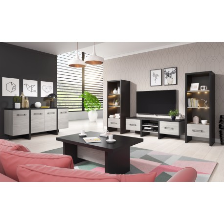 salon complet olen moderne coloris chene gris et noir