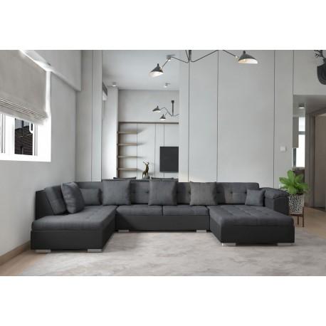 canape d angle panoramique atrium en u gris de 6 a 7 places
