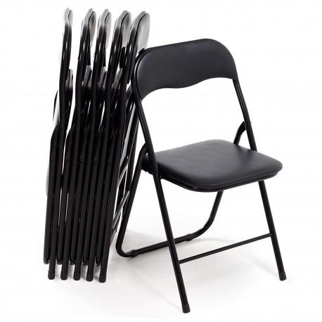lot de 6 chaises pliables en metal de couleur noires
