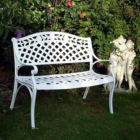 risa banc de jardin en aluminium blanc