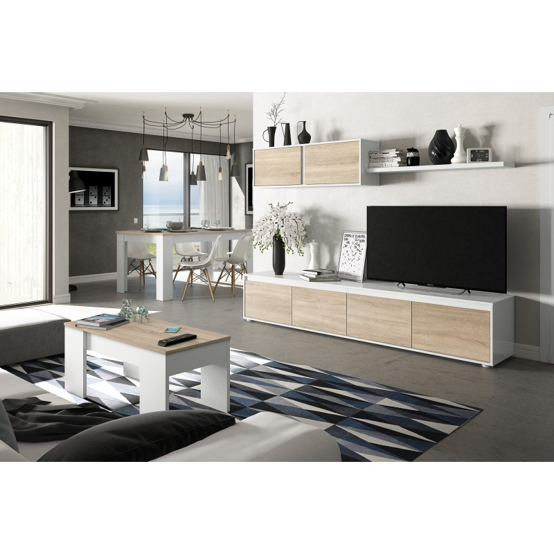 ensemble meuble tv scandinave alidi couleur blanc et bois