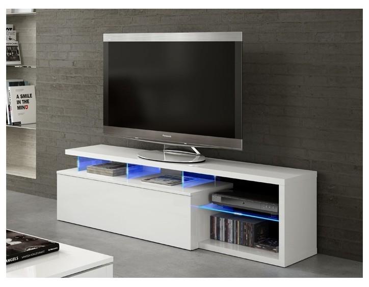 blie meuble tv avec led blanc brillant 150 cm tendencio