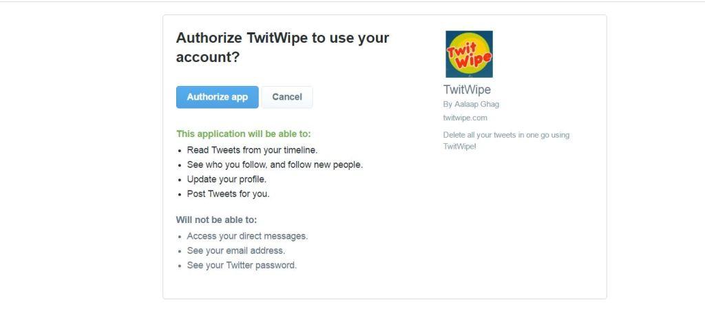 twitwipe for authorization