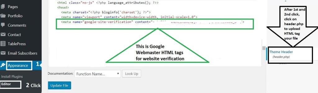 Upload HTML verification tag in WordPress