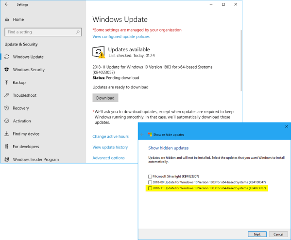 Hide or Show Windows Updates in Windows 10 - Page 20 ...