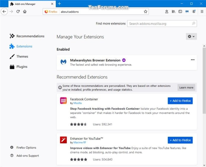 Enable Or Disable Recommended Extensions In Firefox Tutorials