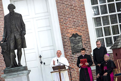 Papa Francisco en Independence Mall