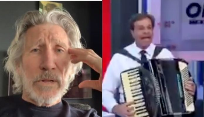 Roger Waters and minister of Bolsonaro playing Pink Floyd