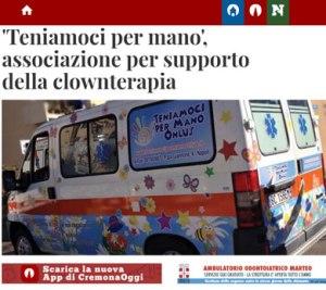 Teniamoci per Mano Onlus per supporto della clownterapia articolo di Cremona Oggi