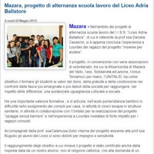 Articolo Mazara progetto di alternanza scuola lavoro del Liceo Adria Ballatore