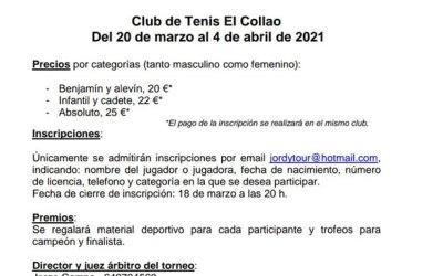 Jordytour Club de Tenis El Collao del 20 de Marzo al 4 de Abril de 2021.