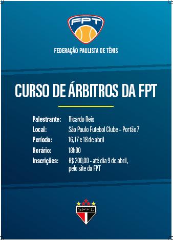 ÚLTIMOS DIAS PARA INSCREVER-SE NO CURSO DE ÁRBITROS DA FPT