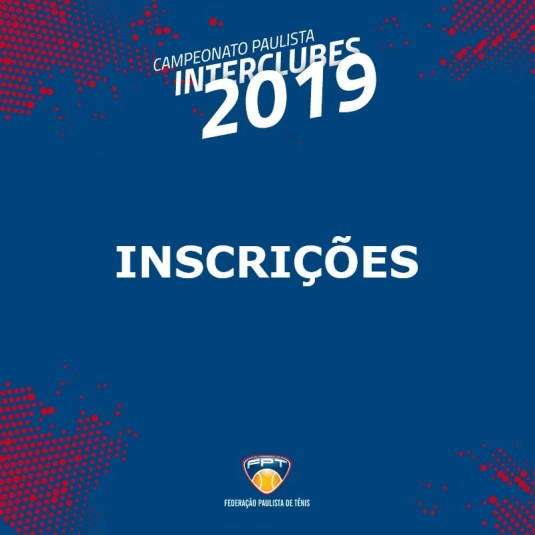 INSCRIÇÕES INTERCLUBES 2019 | DMT40/54A E DMT40/54B