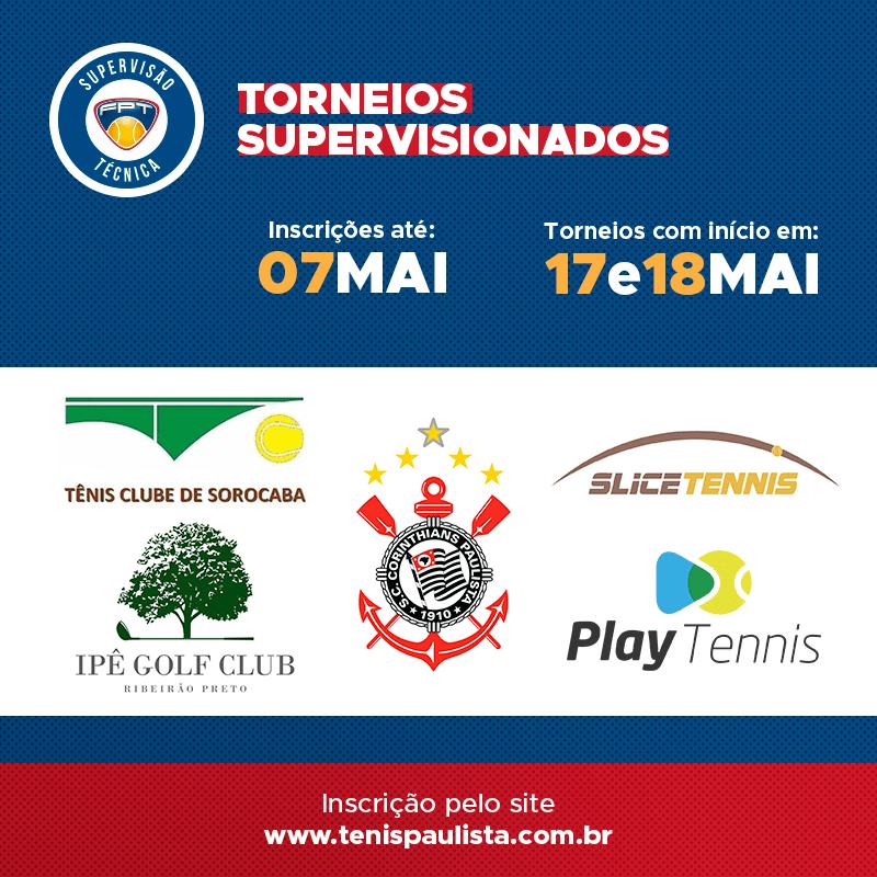 TORNEIOS SUPERVISIONADOS – INSCRIÇÕES ATÉ 07.05