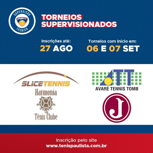 TORNEIOS SUPERVISIONADOS – INSCRIÇÕES ATÉ 27.08