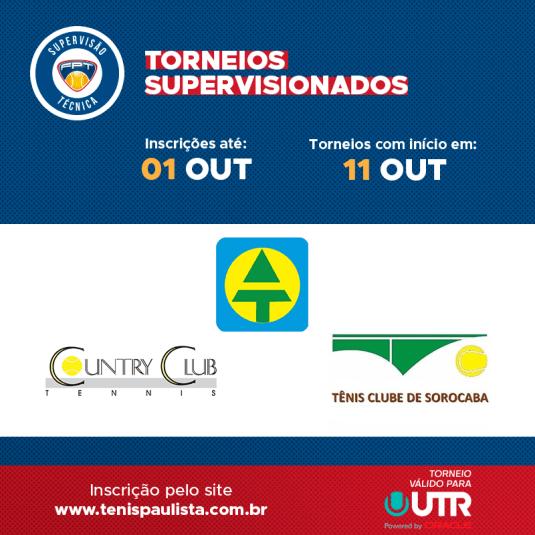 TORNEIOS SUPERVISIONADOS – INSCRIÇÕES ATÉ 01.10