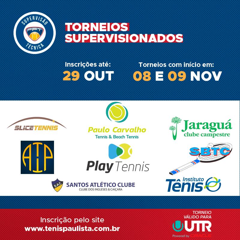 TORNEIOS SUPERVISIONADOS – INSCRIÇÕES ATÉ 29.10