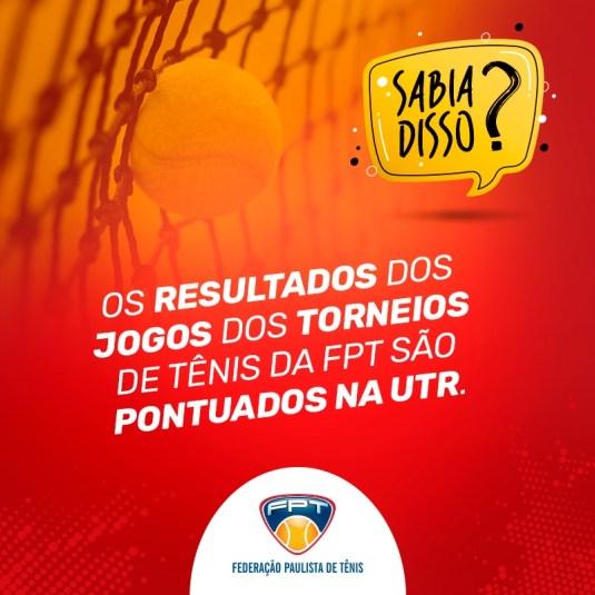 SABIA DISSO? TORNEIOS DE TÊNIS DA FPT SÃO PONTUADOS NA UTR