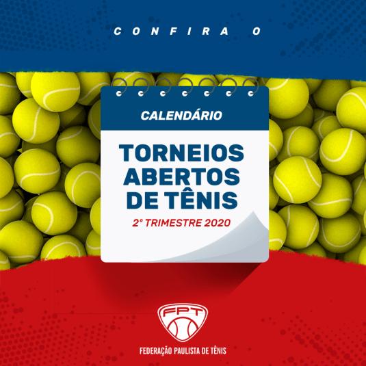 CALENDÁRIO 2020 (2º TRIMESTRE) – TORNEIOS ABERTOS DE TÊNIS