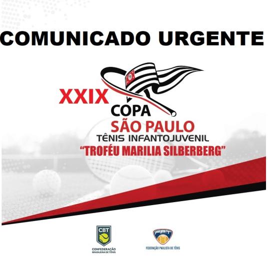 COPA SÃO PAULO DE TÊNIS – TROFÉU MARILIA SILBERBERG – ALTERAÇÃO DE LOCAL