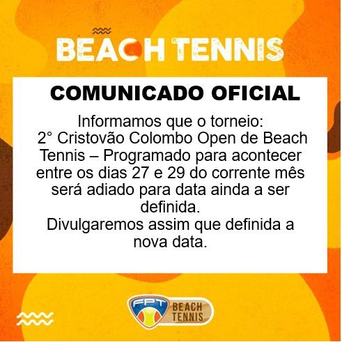 COMUNICADO OFICIAL BEACH TENNIS: TORNEIO ADIADO