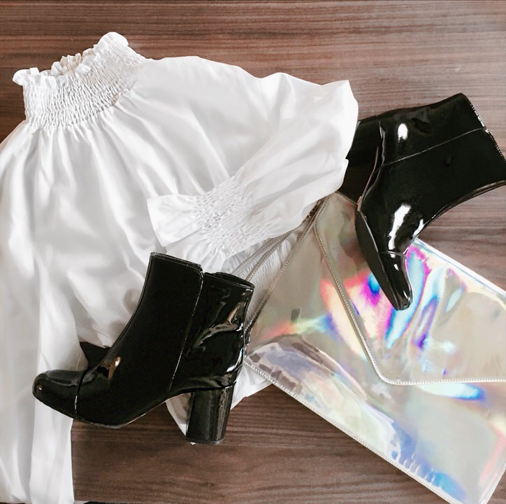 shiny accessories make a white shirt un-boring. NastyGal clutch; Schutz patent leather ankle boots