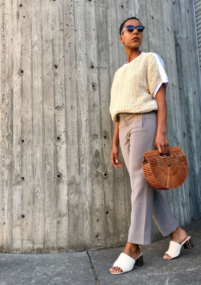 Lacson Ravello Cruz Top, cult gaia ark bag, whowhatwear macrame slides