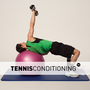 Physio Ball Supine DB Press to Reach