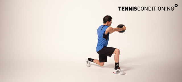 Alternating Lunge Medicine Ball Trunk Rotation