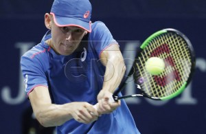 Alex De Minaur of Australia hits a return to Taro Daniel of Japan on the second day of the US Open Tennis Championships the USTA National Tennis Center in Flushing Meadows, New York, USA, 28 August 2018. The US Open runs from 27 August through 09 September. EPA-EFE/JOHN G. MABANGLO