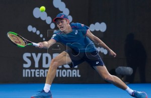 Alex de Minaur of Australia in action during his first round match against Dusan Lajovic of Serbia at the Sydney International tennis tournament at Sydney Olympic Park Tennis Centre in Sydney, Australia, 07 January 2019. EPA-EFE/CRAIG GOLDING AUSTRALIA AND NEW ZEALAND OUT