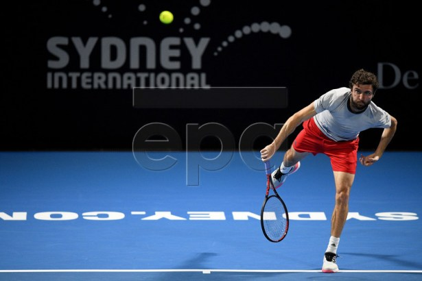Gilles Simon of France in action against John Millman of Australia during their quarter final match at the Sydney International tennis tournament in Sydney, New South Wales, Australia, 10 January 2019.  EPA-EFE/DAN HIMBRECHTS AUSTRALIA AND NEW ZEALAND OUT