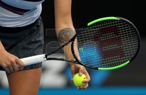 Aryna Sabalenka of Belarus in action against Amanda Anisimova of the United States during their women's singles match on day five of the Australian Open Grand Slam tennis tournament in Melbourne, Australia, 18 January 2019. EDITORIAL USE ONLY AUSTRALIA AND NEW ZEALAND OUT