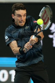 Roberto Bautista Agut of Spain in action during his men's singles fourth round match against Marin Cilic of Croatia at the Australian Open Grand Slam tennis tournament in Melbourne, Australia, 20 January 2019.  EPA-EFE/HAMISH BLAIR AUSTRALIA AND NEW ZEALAND OUT