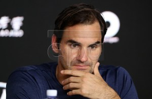 Roger Federer of Switzerland attends a press conference after being defeated in his round four men's singles match against Stefanos Tsitsipas of Greece at the Australian Open Grand Slam tennis tournament in Melbourne, Australia, 20 January 2019. EPA-EFE/DAVID CROSLING AUSTRALIA AND NEW ZEALAND OUT