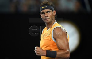 Rafael Nadal of Spain reacts during his men's singles semi final match against Stefanos Tsitsipas of Greece at the Australian Open tennis tournament in Melbourne, Australia, 24 January 2019. EPA-EFE/LUKAS COCH AUSTRALIA AND NEW ZEALAND OUT