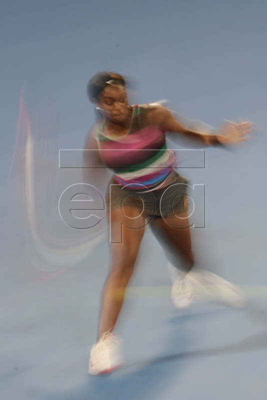 Image taken with a slow shutter speed showing Sloane Stephens of USA in action during her round four women's singles match against Anastasia Pavlyuchenkova of Russia at the Australian Open Grand Slam tennis tournament in Melbourne, Australia, 20 January 2019.  EPA-EFE/MAST IRHAM