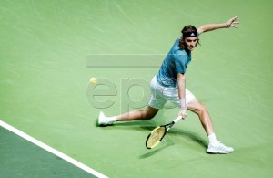 Stefanos Tsitsipas of Greece in action during his first round match against Damir Dzumhur of Bosnia at the ABN AMRO World Tennis Tournament in Rotterdam, The Netherlands, 13 February 2019. EPA-EFE/KOEN VAN WEEL