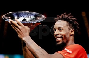 Gael Monfils of France after winning the final against Stan Wawrinka of Switzerland at the ABN AMRO World Tennis Tournament in Rotterdam, The Netherlands, 17 February 2019. EPA-EFE/Robin van Lonkhuijsen