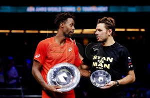 Gael Monfils of France reacts (L) reacts after winning the final against Stan Wawrinka of Switzerland at the ABN AMRO World Tennis Tournament in Rotterdam, The Netherlands, 17 February 2019. EPA-EFE/Robin van Lonkhuijsen