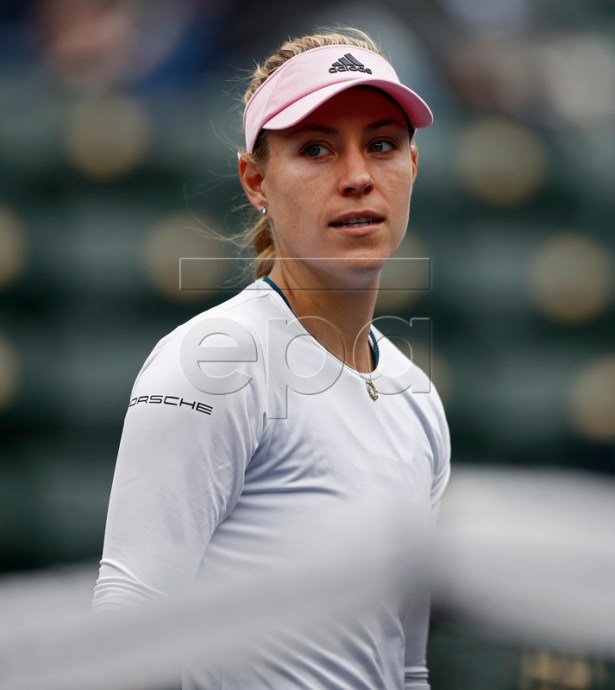 Angelique Kerber of Germany looks back at the line after knocking the ball out while in action against Natalia Vikhlyantseva of Russia during the BNP Paribas Open tennis tournament at the Indian Wells Tennis Garden in Indian Wells, California, USA, 11 March 2019. The men's and women's final will be played, 17 March 2019.  EPA-EFE/LARRY W. SMITH