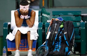 Naomi Osaka of Japan sits on the bench between games while in action against Danielle Collins of United States during the BNP Paribas Open tennis tournament at the Indian Wells Tennis Garden in Indian Wells, California, USA, 11 March 2019. The men's and women's final will be played, 17 March 2019. EPA-EFE/LARRY W. SMITH